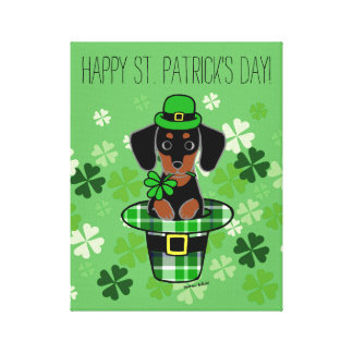 St. Patrick Day Dachshund Cartoon 4 Canvas Print