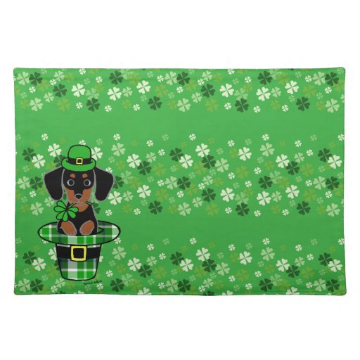 st patrick day dachshund cartoon 4 cloth placemat zazzle