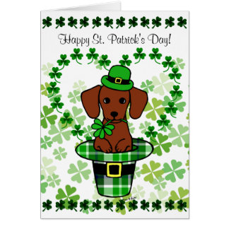St. Patrick Day Dachshund Cartoon Greeting Cards