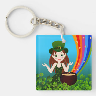St Patrick Day girl Double-Sided Square Acrylic Keychain