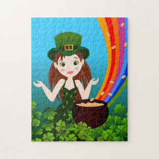 St Patrick Day girl Jigsaw Puzzle