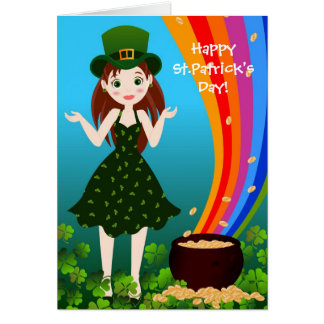 St Patrick Day girl Stationery Note Card