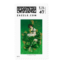 St. Patrick Day Souvenir Woman on Clover Scene Postage