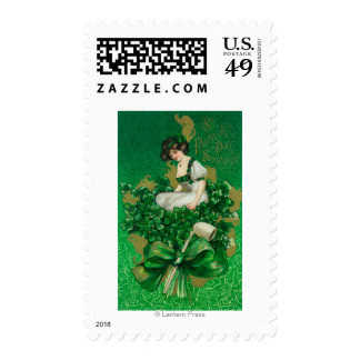 St. Patrick Day Souvenir Woman on Clover Scene Postage Stamp