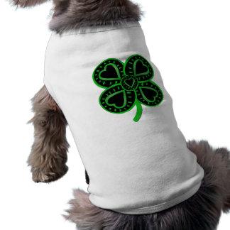 St Patrick for Your Pet Black Green shamrock Heart Dog Tee