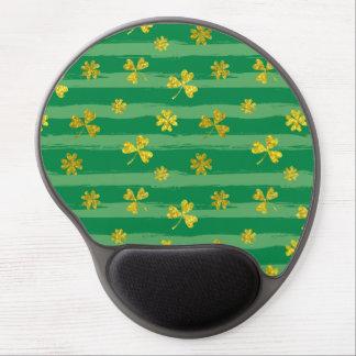 St Patrick Golden shamrock green stripes pattern Gel Mouse Pad