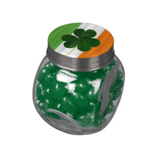 St. Patrick Ireland Shamrock Clover Irish Flag Glass Jar