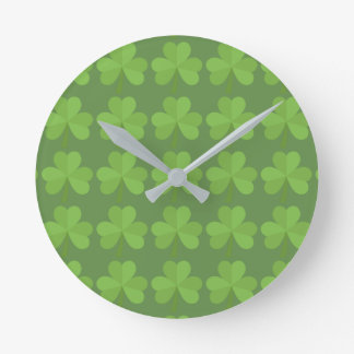 St. Patrick Ireland Shamrock Irish Clover Pattern Round Clock