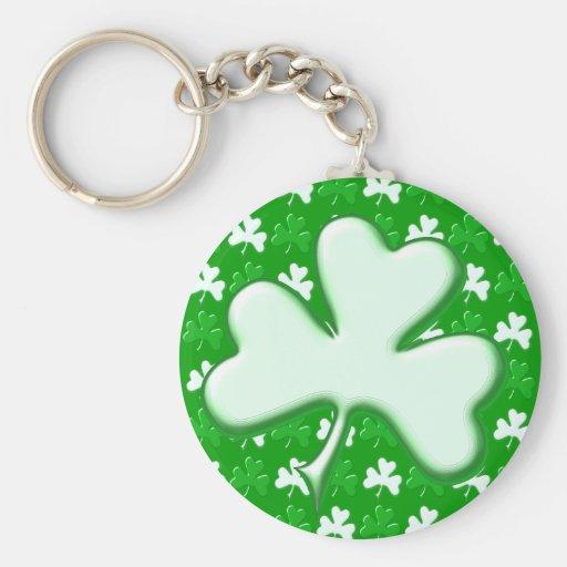 St Patrick Ireland Shamrock Pattern Design Basic Round Button Keychain