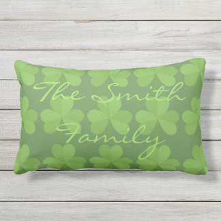 St. Patrick Irish Shamrock Clovers Green Pattern Lumbar Pillow