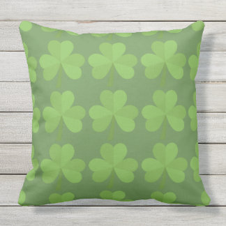 St. Patrick Irish Shamrock Clovers Green Pattern Outdoor Pillow