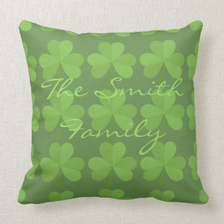 St. Patrick Irish Shamrock Clovers Green Pattern Throw Pillow