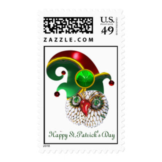 ST PATRICK JEWEL OWL AND  ELF HAT WITH SHAMROCK STAMP