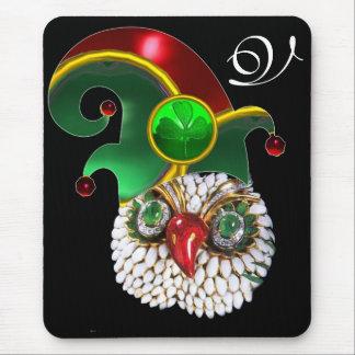 ST PATRICK JEWEL OWL,ELF HAT AND SHAMROCK MONOGRAM MOUSE PAD