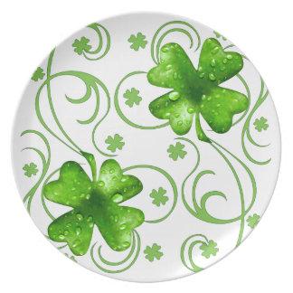 St. Patrick Lucky Shamrock melamine plate