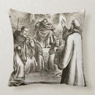 St. Patrick preaching at Tara, from 'The Trias Thu Throw Pillow