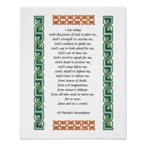 St. Patrick's Breastplate Prayer Green Celtic Knot