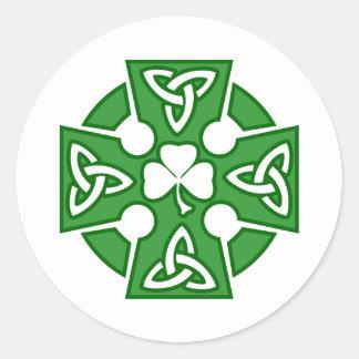 St Patrick s Celtic cross Round Stickers