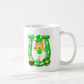 St Patrick's Day Blonde Girl Leprechaun Coffee Mug
