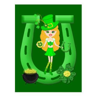 St Patrick's Day Blonde Girl Leprechaun Postcard