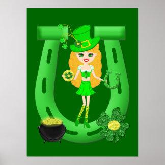 St Patrick's Day Blonde Girl Leprechaun Poster