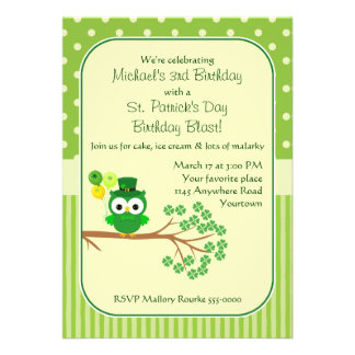 St Patrick s Day Boy s Birthday Owl Personalized Invite