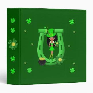 St Patrick's Day Brunette Girl Leprechaun 3 Ring Binder
