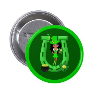 St Patrick's Day Brunette Girl Leprechaun Button