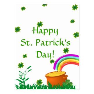 St. Patrick's Day Clover Golden Pot  Postcard