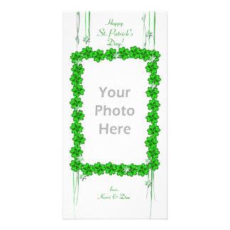 St Patrick s Day Clover Stars Customized Photo Card