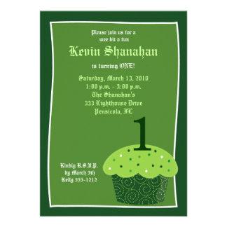 St Patrick s Day CUPCAKE Birthday Invitation 5x7