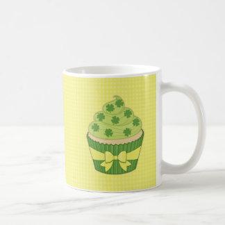 St Patrick's Day Cupcake on Gingham Coffee Mug