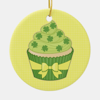 St Patrick's Day Cupcake on Gingham Christmas Tree Ornament