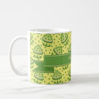 St Patrick's Day Cupcake Pattern and Ribbon Coffee Mug
