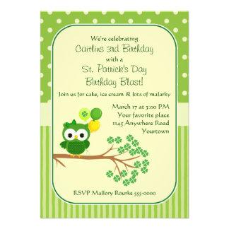St Patrick s Day Girl s Birthday Owl Invite