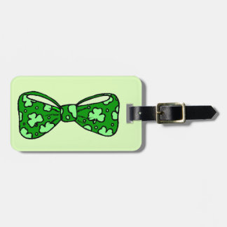 St. Patrick's Day Green Bow Tie Luggage Tag