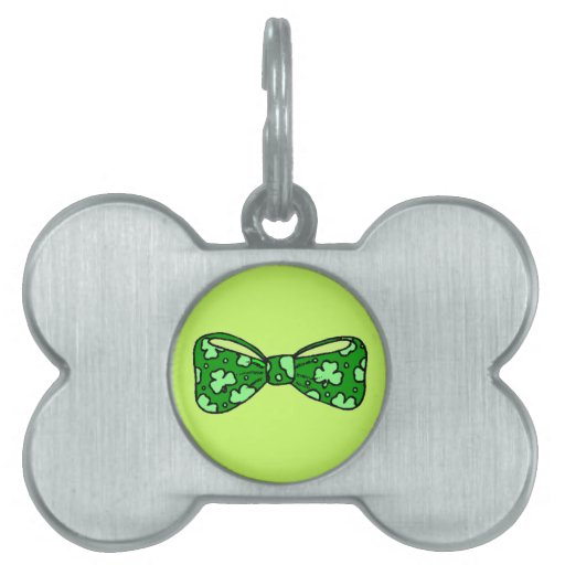 St. Patrick's Day Green Bow Tie Pet Tag