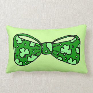 St. Patrick's Day Green Bow Tie Pillow