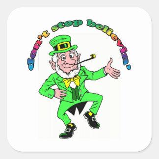 St Patrick s Day Leprechaun Don t Stop Believing Square Sticker