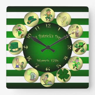"St Patrick's Day ~ Leprechaun ~ ""Erin Go Bragh"" ~ Square Wall Clock"