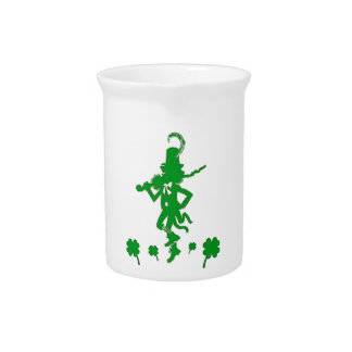 St. Patrick's Day Leprechaun Shamrock  Pitcher