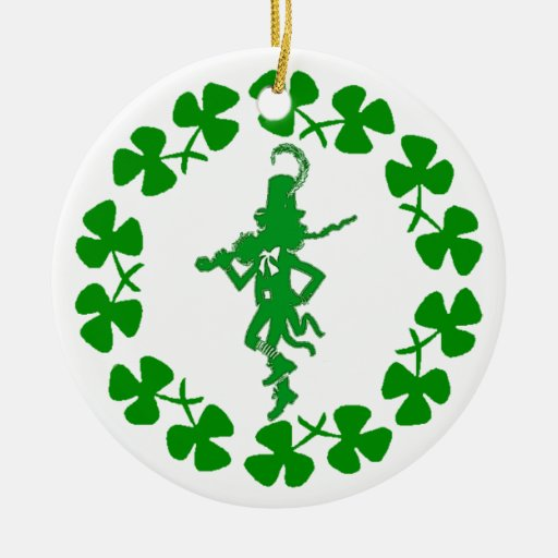 St. Patrick's Day Leprechaun Shamrock Ring  Orname Double-Sided Ceramic Round Christmas Ornament