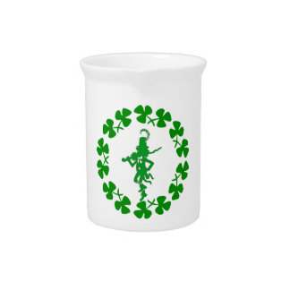 St. Patrick's Day Leprechaun Shamrock Ring  Pitche Beverage Pitcher