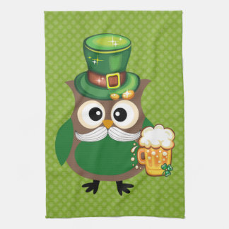 St. Patrick's Day Owl Hand Towel