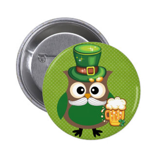 St. Patrick's Day Owl Pinback Button