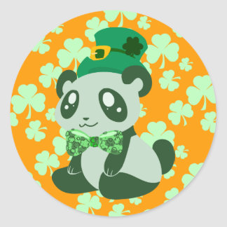 St Patrick s Day Panda Round Stickers