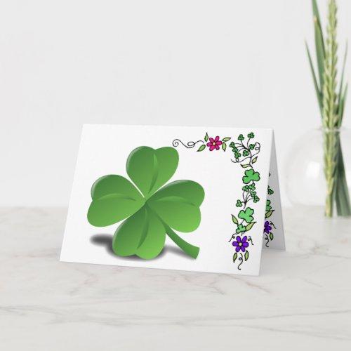 St Patrickâs Day Shamrock Clover Card