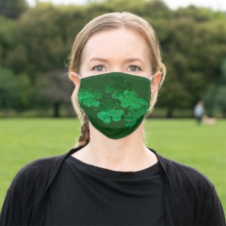 St. Patrick's Day Shamrock Clover on green Adult Cloth Face Mask