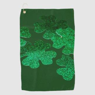 St. Patrick's Day Shamrock Clover on green Golf Towel