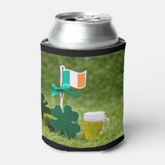 St. Patrick's Day Shamrock Clover on green grass Can Cooler